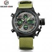 Golden Hour Dijital + Analog Yeşil Çelik Erkek Kol Saati Stm17