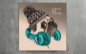 Müziksever Köpek Dekoratif Kanvas Tablo