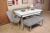 Mutfak Masası Taytüyü Kumaş 6 Kişilik Açılır Camlı Kelebek Masa Bank Takımı