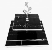 Eren Home İki Katlı,gümüş Detaylı ,siyah Granit,kare İkramlık