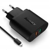 Aukey Pa T13 33w Q.c 3.0 Hızlı Duvar Şarj Ve 1mt Micro Usb Kablo