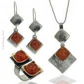 Gümüş Tasarım Pres Kehribar Taşlı Set Takı