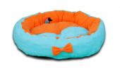 Lepus Papyonlu Lüx Yuvarlak Kedi Köpek Yatağı 59 Cm Turkuaz