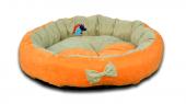 Lepus Papyonlu Lüx Yuvarlak Kedi Köpek Yatağı 59 Cm Turuncu