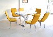 Açılır X Döküm Ayak Taytüyü Kumaş 6 Kişilik Mutfak Masası