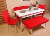 6 Kişilik Mutfak Masası Bank Takımı Taytüyü Masa Sandalye Takımı Yemek Masası