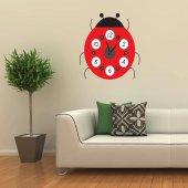 Uğur Böceği Tasarımlı Duvara Yapışan Saat