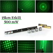 Yeşil Lazer Pointer 500 Mw 15 Km Etkili (5 Başlıklı)