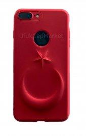 Iphone 7 8 3d Bayrak Kabartmalı Silikon Kılıf Kırmızı