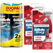 Gillette Blue3 Milli Takım Özel Paketi 8 Li Tıraş Bıçağı + 2li Jel + Seyahat Çantası)