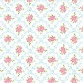 Beyaz Zemin Üzerine Pembe Gül Mavi Yaprak Desenli Keçe Plaka (Dk P146)