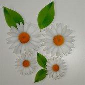 Beyaz Papatya Ve Yaprak Desenli Keçe Aplike (Dk 99 A)