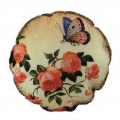 çiçek Desenli Dekoratif Yuvarlak Yastık (Y49)