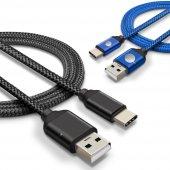 Htc P10 Plus Type C Hızlı Şarj Data Kablosu Premier Örgülü Kablo