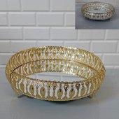 Metal Aynalı Altın&gümüş Renk Söz Nişan Sunum Servis Tepsi 26 Cm