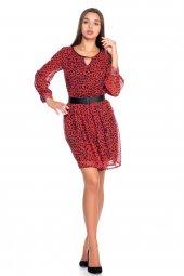 Kırmızı Leopar Desenli Sifon Elbise 19k0160576