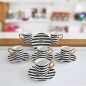 6lı Porselen Siyah Beyaz Çizgili Kalpli Kahve Fincan Takımı