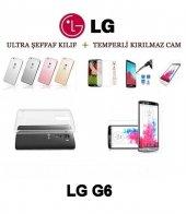 Lg G6 Ultra İnce Şeffaf Silikon Kılıf + Temperli Cam