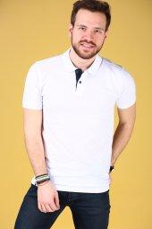 Beyaz Polo Yaka Tshirt Kısa Kollu Tişört Basic T Shirt