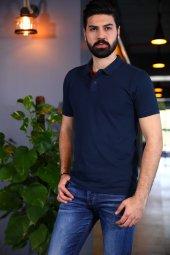 Lacivert Polo Yaka Tshirt Kısa Kollu Tişört Basic T Shirt