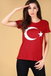 Ay Yıldız Baskılı Kırmızı T Shirt Bayan Tişört Türk Bayrağı