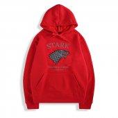 Stark Kırmızı Kapşonlu Sweatshirt Kanguru Cepli