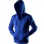 Mavi Kapşonlu Sweatshirt Fermuarlı Kanguru Cepli