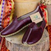 Mor Renk Tek Dikişli Deri Bayan Erkek Yemeni Ayakkabı