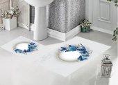 Bh 1743 Mavi Kelebekler Beyaz 3d Banyo Paspas Takımı