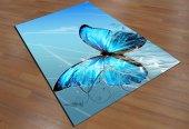 Sh 1644 3d Büyük Kelebek Mavi Salon Halısı