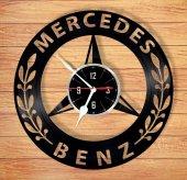Dekoratif Ahşap Duvar Saati Mercedes Benz