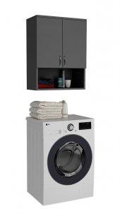 Kenzlife Çamaşır Makinesi Dolabı 3 Raflı Kapaklı Simge Antras