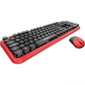 Everest Round Km 6282 Kırmızı Siyah Kablosuz Q Multimedia Klavye + Mouse Set