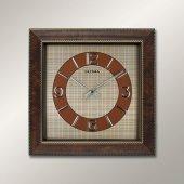 1361 Ap Ahşap Renk Köşeli Relief Desen Duvar Saatı