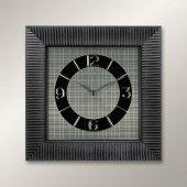 1380 Bs Siyah Köşeli Relief Desen Duvar Saatı