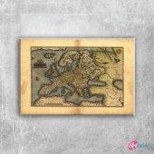1570 Ortelius Avrupa Haritasi Eski Cizim Dunya Har...