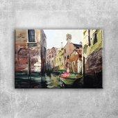 Venedik Kanal Manzaraları İtalya, Kayık Kanvas Tablo