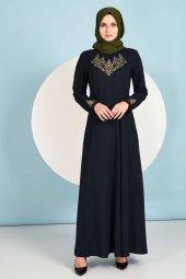 Nakışlı Tesettür Lacivert Elbise