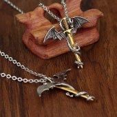 Game Of Thrones Dragon Pterosaur Ejderha Altın Kılıç Kolye