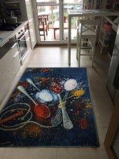Mutfak Halsı Kaşık Desen Dekoratif Kaymaz Tabanlı Halı Kilim