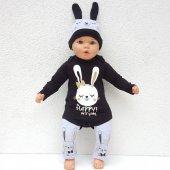 Tavşan Siyah Gri 3 Lü Bebek Takım