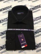 Benesse Dakron Uzun Kollu Klasik Siyah Gömlek