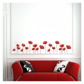 Red Flowers 165x36 Cm Duvar Sticker