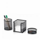 Masa Üstü Metal Kalemlik Üçlü Set Siyah