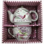 2 Parça Yazılı Ve Desenli Hediyelik Çaydanlık