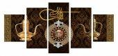 5 Parça Kahve Zemin Üzeri Osmanlı Tasarım Kanvas Tablo