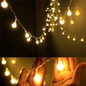50 Adet Top Şekilli Dekoratif Pilli Led Dize Işık Lamba 5 Metre