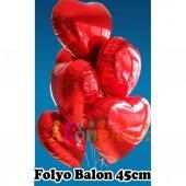 Toptan Kalp Balon Kırmızı Baskısız Folyo 45 Cm Çapında