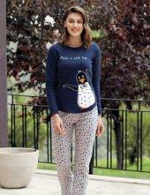 Mel Bee Penguen Baskılı Pijama Takımı Lacivert Mbp23618 1