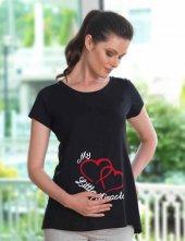 Mel Bee Kalp Baskılı Lohusa T Shirt Siyah Mb4508